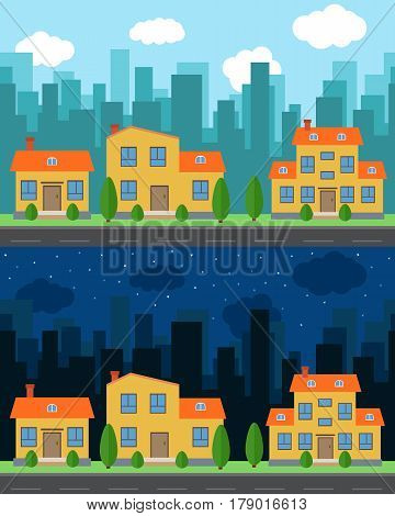 Vector city with cartoon houses and buildings in the day and night. City space with road on flat style background concept. Summer urban landscape. Street view with cityscape on a background