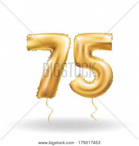 Number Seventy Five Metallic Balloon