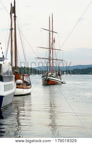 Boats and yachts in Oslo harbor. The Oslo Norway harbor is one of Oslo's great attractions