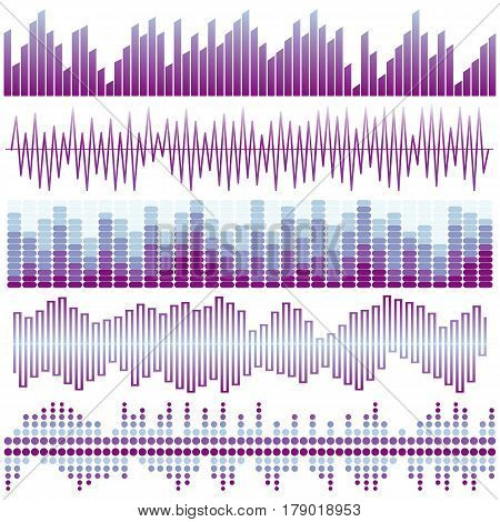 Vector set of purple sound waves. Audio equalizer. Sound & audio waves isolated on white background.