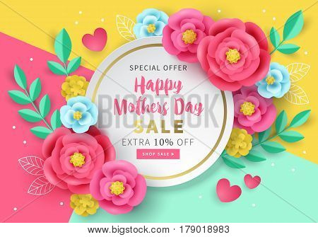 Mothers Day Sale Banner Template For Social Media Advertising, Invitation Or Poster Design With Pape
