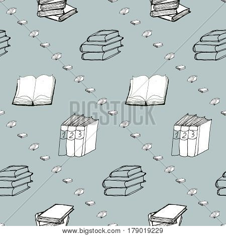 Seamless vector doodle pattern with diagonal rows of books. Library hand drawn sketchy background. Reading and education concept.