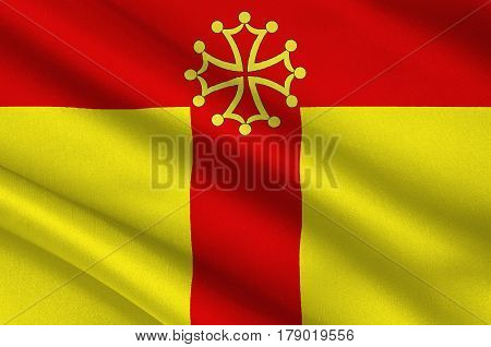 Flag of Tarn is a French department located in the Occitanie region in the southwest of France. 3d illustration