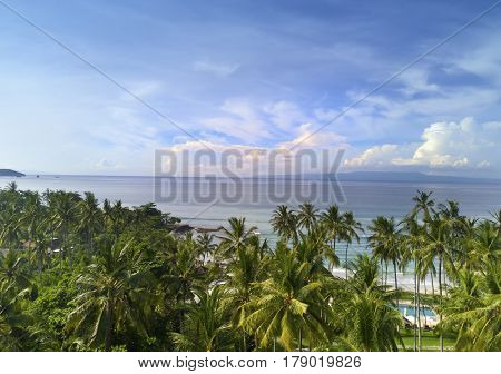 Stony seacoast  Indonesia. Bali. Landscape in a sunny day