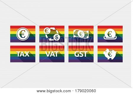 Group of gay pride flags with money, economy, business and finance related icons
