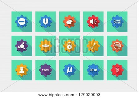 Set Of Gears With  Miscellaneous Mixed Icons