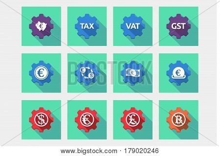 Set Of Gears With  Money, Economy, Business And Finance Related Icons