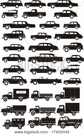 Old Car Silhouettes Side