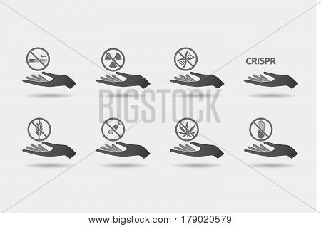 Set Of Hands In Giving Position With  Health And Wellness Related Icons