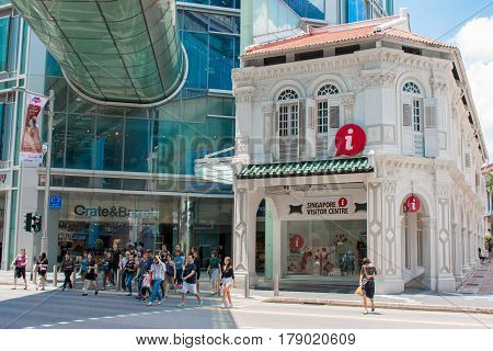 ORCHARD ROAD SINGAPORE - MAR 22 2017: Singapore visitor centers building in Singapore downtown at Orchard Road visitor get more information about Singapore and purchase tickets to attractions and tours or pick up a souvenir.