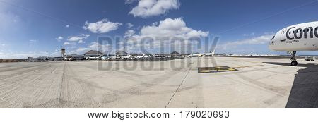 ARRECIFE SPAIN - MAR 14 2017: airport of Arrecife the capital of the canarian island of Lanzarote Spain. The airport was reconstructed in 1996.