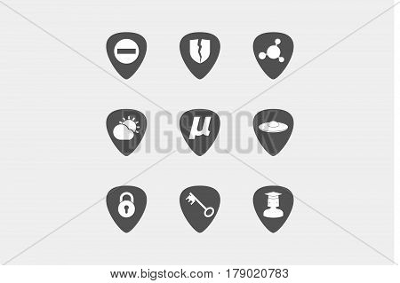Set Of Guitar Plectrums With  Miscellaneous Mixed Icons