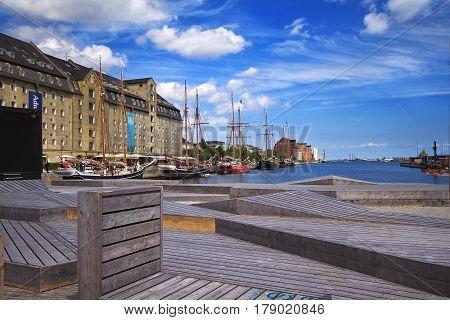 COPENHAGEN DENMARK - JUNE 15: Cityscape of Nyhavn harbor in Copenhagen Denmark in summer day in 2012