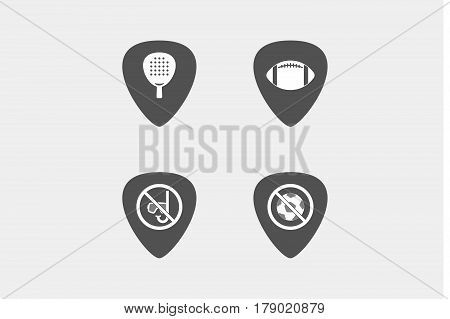 Set Of Guitar Plectrums With  Sports And Recreation Related Icons