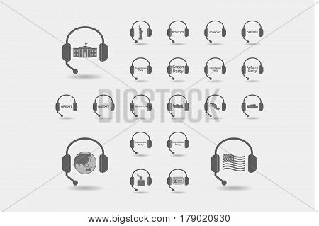 Set Of Hands Free Headsets With  Politics, Democracy, Diplomacy And International Relations Related