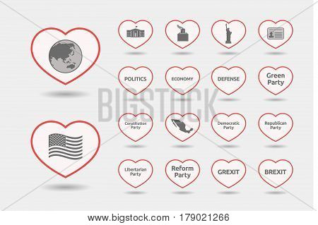 Set Of Line Art Hearts With  Politics, Democracy, Diplomacy And International Relations Related Icon