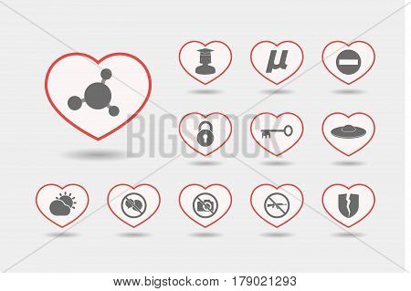 Set Of Line Art Hearts With  Miscellaneous Mixed Icons