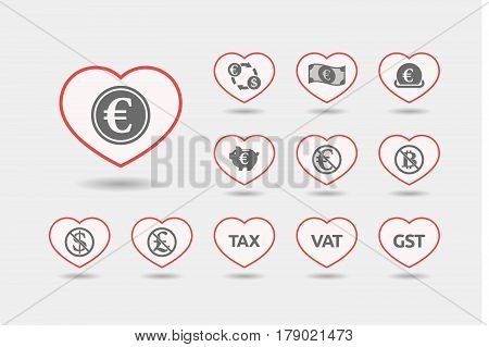 Set Of Line Art Hearts With  Money, Economy, Business And Finance Related Icons