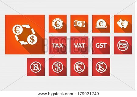 Set Of Long Shadowillustrations With  Money, Economy, Business And Finance Related Icons