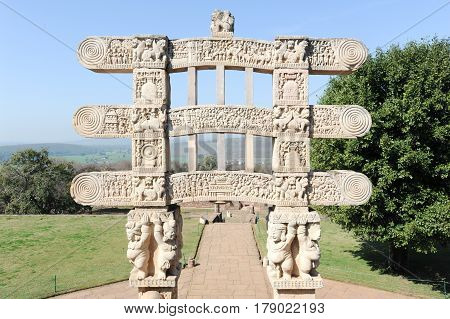 Detail Of The Gate At Great Buddhist Stupa In Sanchi, India