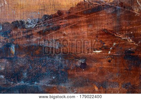 Texture Of Vintage Rusty Orange Iron Wall Background With Many Layers Of Paint