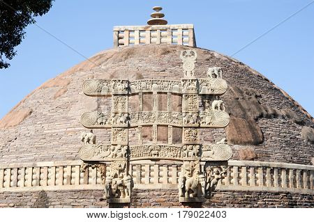 Sanchi Stupa Is Located At Sanchi Town In India