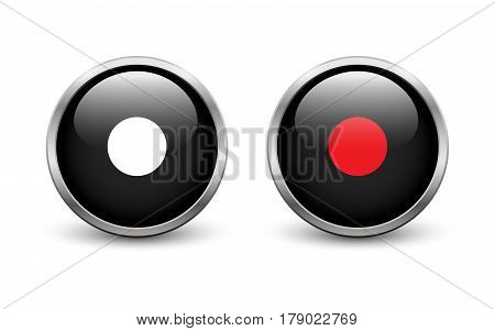 Set of two black On and Off record buttons with metal frame and shadow