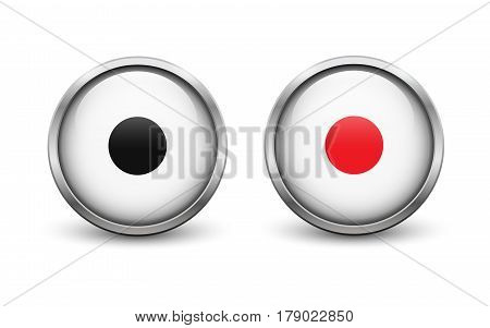 Set of two white On and Off record buttons with metal frame and shadow