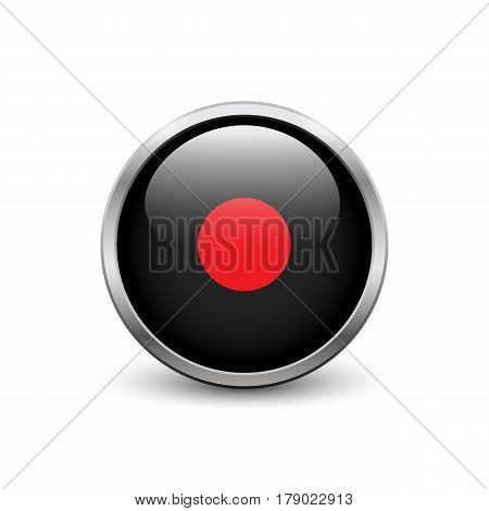 Record black button with metal frame and shadow