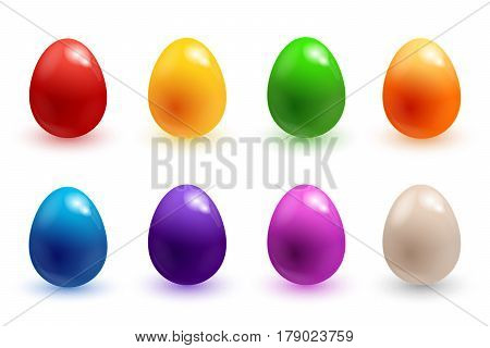 Easter eggs 3d icons. Colorful Easter eggs for Easter holidays design on white background. Vector illustration EPS10