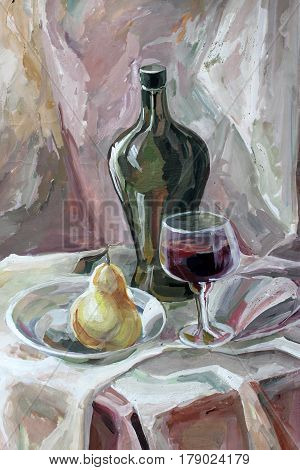 still life gouache color painting the bottle and glass