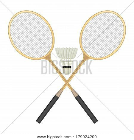 Two crossed badminton rackets and white shuttlecock with black line. Vector illustration of equipments for badminton game sport isolated on background in flat design. Rackets and shuttlecock