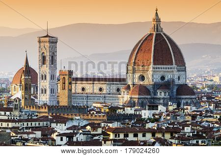 Cathedral of Santa Maria del Fiore Dome at dusk, Florence, Italy