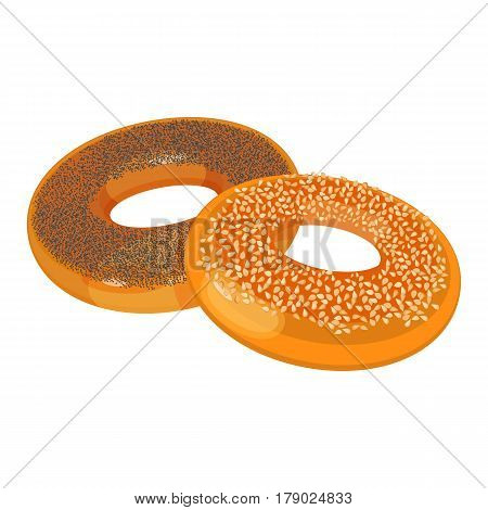 Two bagels with poppy and sesame seeds flat design on white background. Vector illustration of bakery products. Eating fresh and tasty sweet bread close-up.