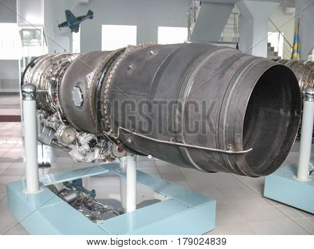Museum Of The History Of Aircraft Engine Building. Aircraft Engines On Stands. Turbine Engines And I