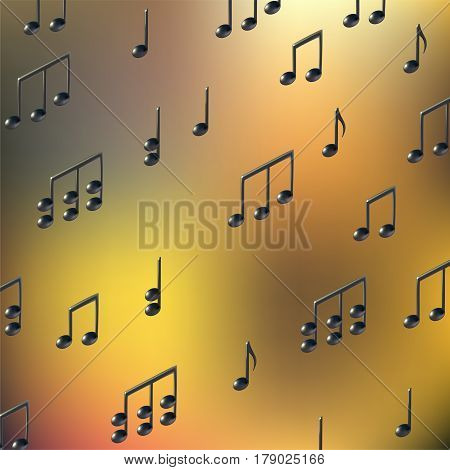 Music notes on gold yellow blur background. 3d realistic vector. Gradient mesh.