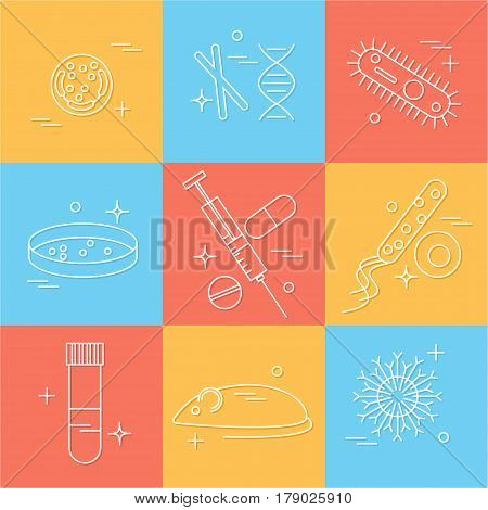 Immunology research icons set. Stock vector illustration of DNA petri dish virus bacteria mouse blood vacutainer syringe antibody and human cell.
