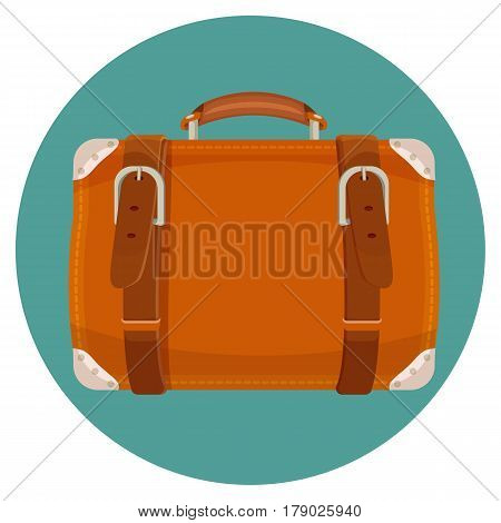 Leather luggage case in round blue button isolated on blue background. Big suitcase for carrying things on voyages. Vector illustration in travelling bag in realistic style design