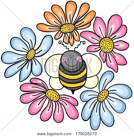 Scalable vectorial image representing a bee surrounded by flowers, isolated on white.