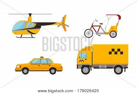 Different types of taxi transport. Cars, helicopter, van truck, bike and motorcycle. Taxi transport vector illustration. Taxi cars city service girl manager. Passengers and delivery taxi service