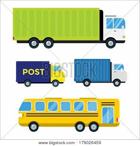 Delivery transport cargo logistic vector illustration set isolated on background. Commercial highway industrial city truck, bus. Fast shipment distribution export courier car.