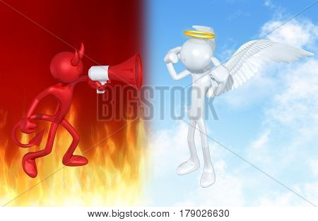Devil Yelling At An Angel The Original 3D Characters Illustration
