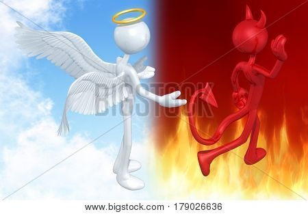 Devil Walking Away From An Angel The Original 3D Characters Illustration