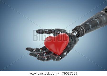 Three dimensional image of cyborg showing heart shape decoration against purple vignette 3d