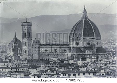 analog film of Florence evening old town view to santa maria del fiore cathedral tuscany region italy