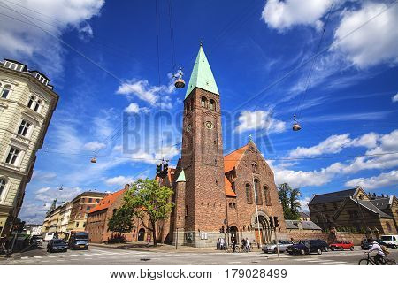 COPENHAGEN DENMARK - JUNE 15: St. Andreas church is a Lutheran church on Gothersgade which was designed by the architect Martin Borch and built from 1897 to 1901. It is a parish church within the Danish National Church 2012