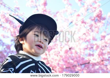 cherry blossom and smiling child in the nature