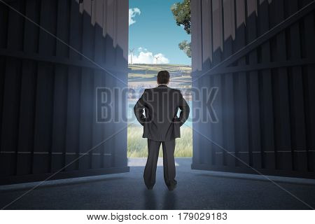Businessman standing back to the camera with hands on hip against scenic backdrop 3d