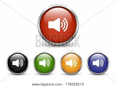 High Volume icons set of five colored buttons with metal frame and shadow