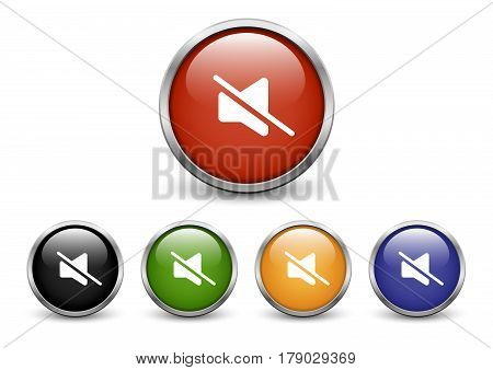 Mute icons set of five colored buttons with metal frame and shadow